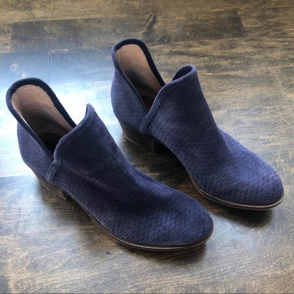 fb2024379 Lucky Brand Shoes | Navy Blue Suede Baley Ankle Boots Sz 7 | Poshmark